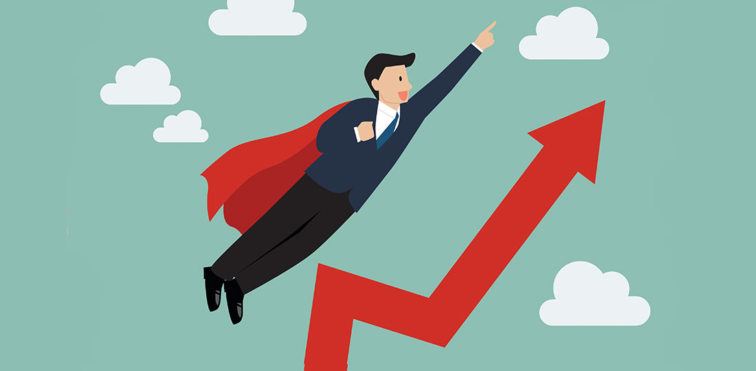 A businessman in a cape flying like Superman towards impressively high patient satisfaction scores. Illustration.