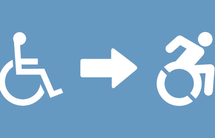 The International Symbol of Access (ISA) evolving into the Dynamic Symbol of Access (DSA). Illustration.
