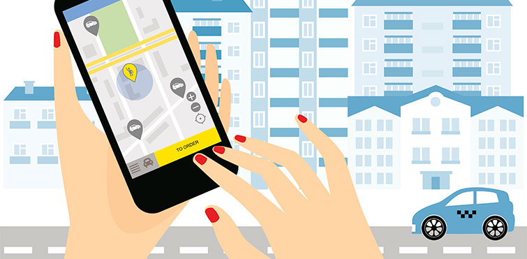 A woman navigating a ridehailing app on her smartphone. Illustration.