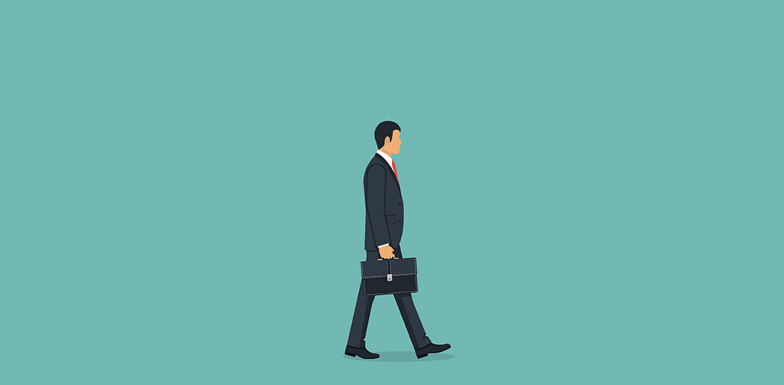 A suited businessman walking with his briefcase. Illustration.