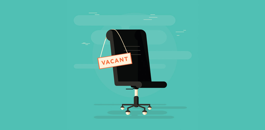 An office chair with a 'Vacant' sign draped across it. Illustration.