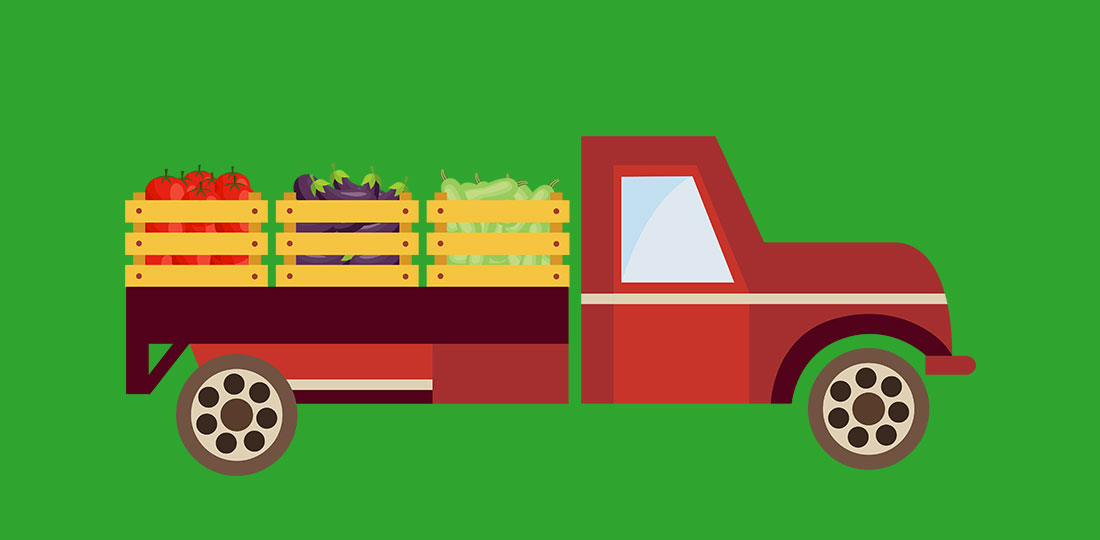 A pick-up truck carrying assorted fruits and vegetables. Illustration.